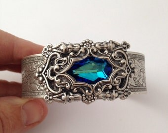 Faerietale Couture Victorian Rococo style silver Burmuda Blue Bangle Bracelet