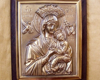 MADONNA ICON - The Blessed Virgin Mary & Christ Child - Golden Repousse' Metal Mounted on A Hardwood Plaque - Made In Germany