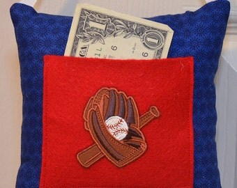 SALE Tooth Fairy Pillow Baseball with Pocket for Tooth and Money