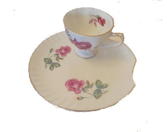 Cherry China Tea or Snacks for One, Luncheon or Cake Dessert  Plate with Cup Included FREE SHIPPING