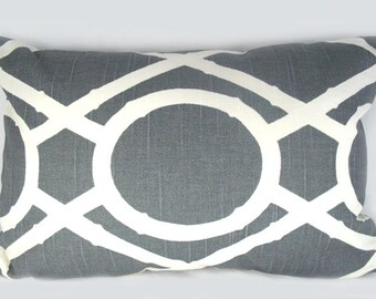 Robert Allen - Lattice Bamboo Greystone - Decorative Pillow Cushion Cover - Accent Pillow - 12 x 18 size