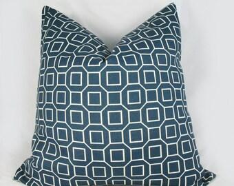 Indigo Geo Blue - Decorative Pillow Cushion Covers - Accent Pillow - Throw Pillow  - Indoor Outdoor