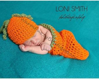 Newborn Pumpkin Carrot Hat Cocoon Set - Crochet Beanie Boy Girl Halloween Thanksgiving Photo Prop Costume Christmas Winter