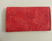 Red swirl and gray interior checkbook cover, coupon carrier or receipt carrier