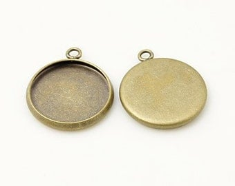 Antique Bronze Cabochon Pendant settings, Round, inner tray 14mm, 10pcs, FREE SHIPPING within USA