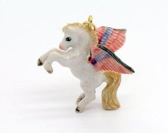 1 - Porcelain Pegasus Pendant Hand Painted Glaze Ceramic Animal Small Ceramic Bead Vintage Jewelry Supplies Little CritterzPorcelain (CA072)