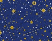 Windham Fabrics - Celestial - Starry Night - Blue/Gold - Choose Your Cut 1/2 or Full Yard