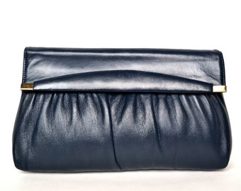 Vintage Navy Blue Leather Clutch Vtg 1960s Ruched Leather Clutch