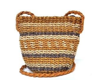 Vintage Straw Striped Shoulder Bag Vtg Small Mini Purse