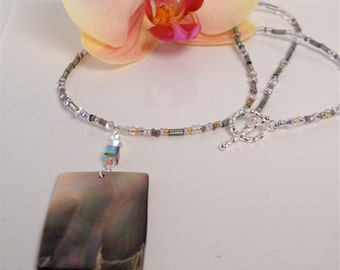 Shell Pendant Necklace with Crystals and Seed Beads