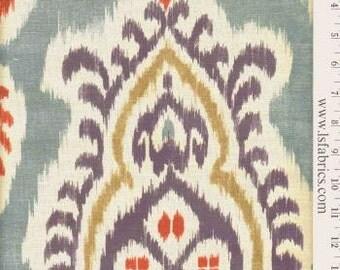 Blue, Red and Ivory Ikat Custom Pillow Covers in Bonita Indigo Designer Fabric