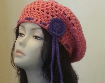 Crocheted Beret Hat - Boho - Beret Hat - Chunky Beret - Slouch Hat - FREE UK delivery