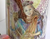 Ceramic Angel Playing the  Harp  design 11oz Mug, light pink handle