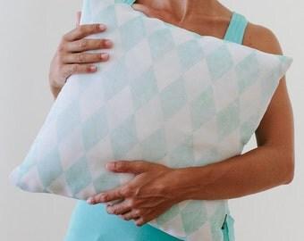 Pillow Cover, Triangles Pillow, Throw Mint Pillow, Light Blue Pillow, Nursery Room Pillow, 16x16 Pillow Decorative, Home Decor -  Light Mint