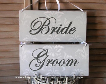 Bride & Groom Signs FREE SHIPPING- Bride and Groom Chair Signs- Wedding- Bride and Groom- Wedding Signs- Signs-Rustic wedding signs