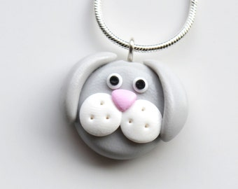 Rabbit Face Necklace, Polymer Clay, Fimo