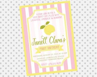 LEMONADE Birthday Party Invite - Lemonade Stand Invitation - Lemon Party - Party Supplies