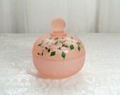 Westmoreland pink satin trinket box with dogwood flowers