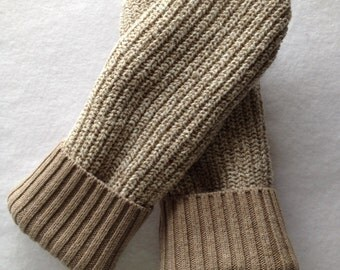 Recycled COTTON Sweater  Mittens, Fleece Lined -Women's