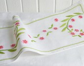 Linen table runner with embroidery in pink and green,vintage Swedish linen, hand embroidered tablerunner