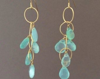 Blue Chalcedony Teardrop Circle Chain Earrings in Gold or Silver