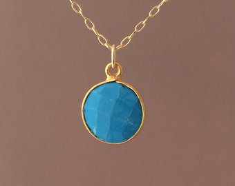 TINY Gold Blue Turquoise Circle Necklace Long or Short