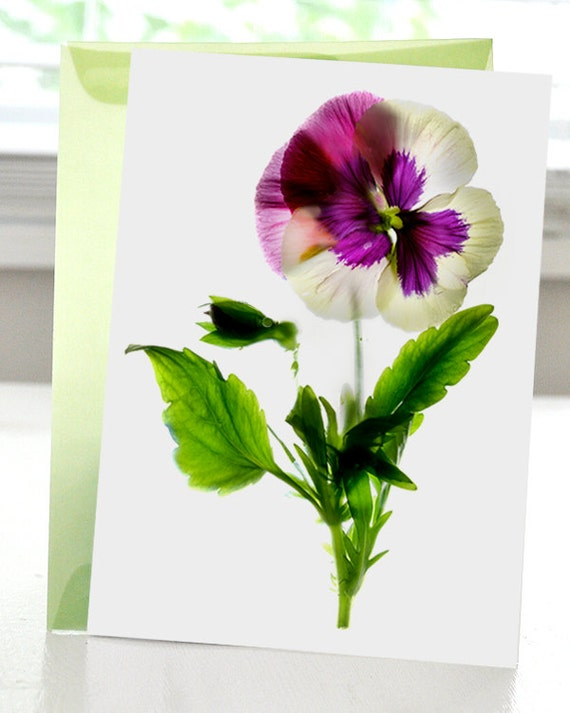 Greeting Card Note Card Pansy Pirouette Dance Flower Purple hand made