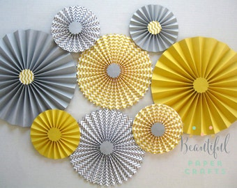 Set of 8 Gray and Yellow Rosettes | Gray yellow Paper Fans | Gender Reveal Party Baby Shower | Yellow and Gray Bridal Shower