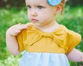 BOHO Babe /Toddler Bow Bodice dress with double aqua stripe and white dot skirt