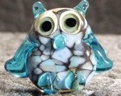 Owl Lampwork Glass Bead Blue Frit and Aqua on Ivory Studio D Beads