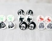 Wedding mens cufflinks - set of Groomsmen gifts - Star Wars - Darth Vader, Stormtrooper, Han Solo, Darth Maul, Yoda, Skywalker, Boba Fett