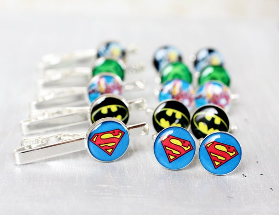 Mens cufflinks and Tie Clips - Wedding set of Groomsmen gifts - Comic Superhero - Superman, Batman, Green Lantern, Wolverine, Iron Man