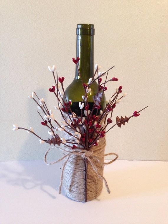 Wine decor twine wine bottles wine bottles decorated by for Wine bottles decorated with flowers