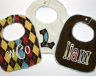 Monogrammed Personalized Bibs Gift Set of 3 Embroidered Newborn To Toddler Boy Chenille Baby Bibs