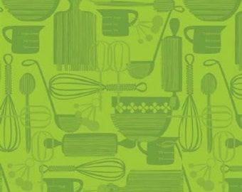 Kitchy Kitchen - Utensils in Lime - Maude Asbury for Blend Fabrics - 1/2 Yard