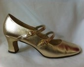 GLAM gold vegan high heeled mary jane shoes with two buckles - cute!