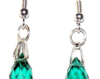 Dazzling Green  Crystal Briolette Dangle Earrings