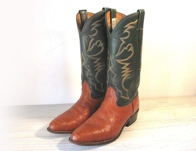 Vintage Cowboy Boots Larry Mahan Green Amp Copper Tan All
