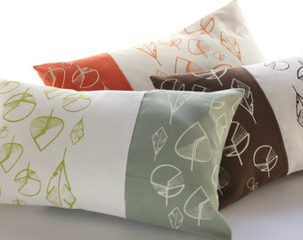 Lumbar pillow cover - rectangular cushion cover with leaves hand-printed -Lumbar cushion cover-Original designer fabric screen printed