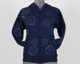 Kids hand painted skull duo sparkling and randomly adorning navy blue zip up kids hoodie