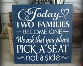 Today Two Families Become One -- Wedding --  Painted Wooden  Subway Typography 18 x 18 sign