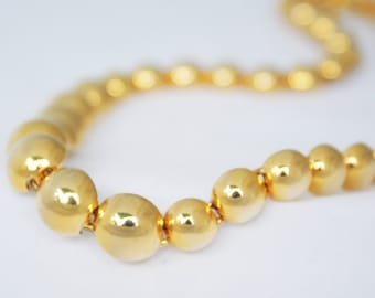 Necklace- Vintage 1980s Long Gold Circular Cascading Accent Necklace
