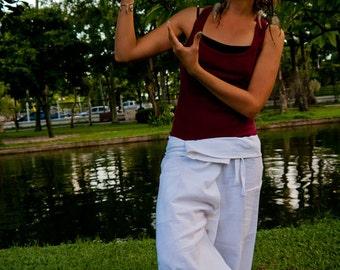 Fisherman pants, Cotton, White UNISEX