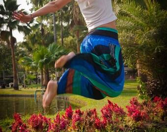 Thai  Pants in Cotton, Multicolor Wide Blue Tint Stripes