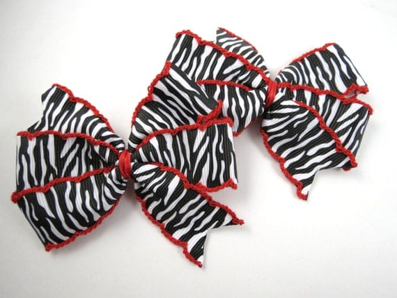 Red Zebra Hair Bows 41