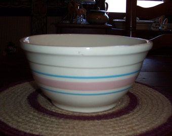 Vintage McCoy 8 inch Stoneware Mixing Bowl....Pink and Blue Stripe...Ovenware... Nice Condition...Retro Kitchen.....