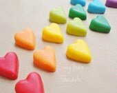 Tiny Solid Chocolate Rainbow Heart Cupcake Toppers (12)