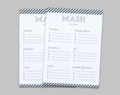 MASH - Bridal Shower or Bachelorette Party Game - Instant Download PDF - Blue