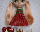 BLYTHE Party Dress-Red-Gold Stripe