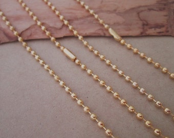 15pcs  2.4mm  27inch Gold color ball necklace chain with matching connector